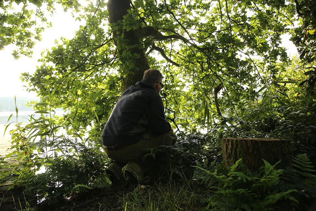 Stel je verdekt op. Bij voorkeur achter een boom of tussen het struikgewas.
